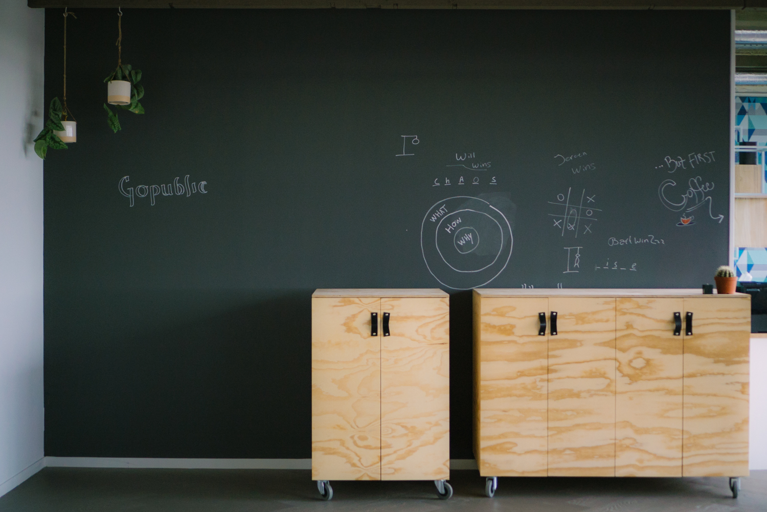 Chalkboard in an office with wooden cabinets